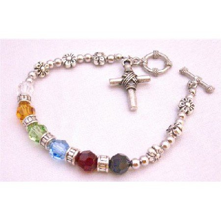 TB874 Sterling Silver Cross Charm Salvation Bracelet Handcrafted w/Austrian Round 8mm Crystals