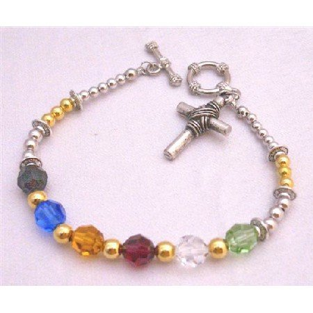 TB873 Salvation Bracelet Gold Plated Beads Spacer Handcrafted Bracelet w/Austrian Round Crystals