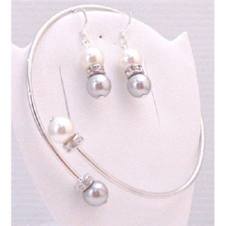 TB893  Bangle Cuff Wedding Bracelet & Earrings Set Grey & White Pearls w/Silver Rondells Spacer