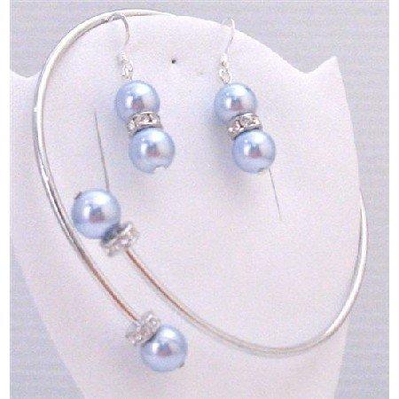 TB887  Blue Aquamarine Pearls Jewelry Bracelet & Earrings Set Cuff Adjustable Wrist Bracelet