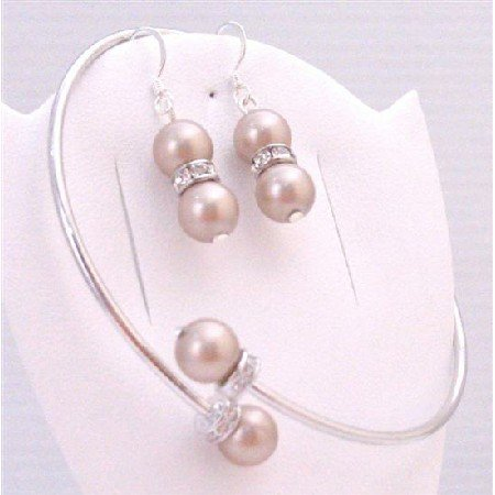 TB884 Champagne Pearls Wedding Color Dress Bridemaids Bracelet & Silver Earrings