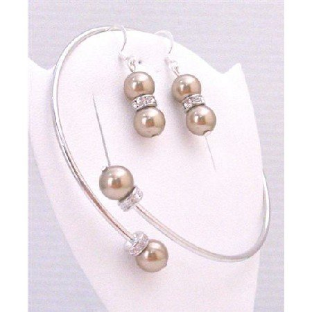 TB883 Swarovski Bronze Pearls Cuff Bracelet & Earrings w/Diamond Spacer Silver Rondells