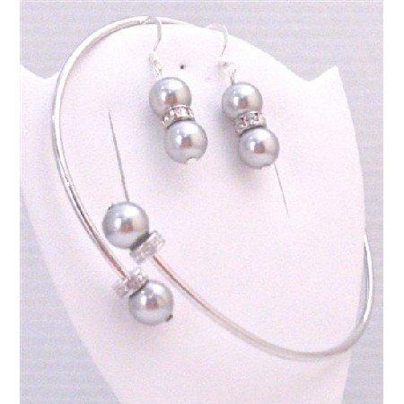 TB889 Grey Pearls Cuff Bracelet & Earrings Set w/Silver Rondells Spacer Sparkle Like Diamond