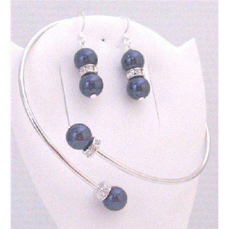 TB891 Cuff Bracelet Jewelry w/Sterling Silver Earrings Dark Blue Pearls w/Silver Rondells Spacer