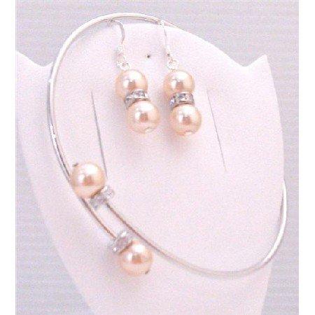 TB892 Swarovski Peach Pearls Silver Rondells Bangle Cuff Bracelet w/Sterling Silver Earrings Jewelry