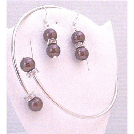 TB881 Swarovski Burgundy Pearls Silver Rondells Spacer Silver Cuff Bracelet & Earrings Set Jewelry