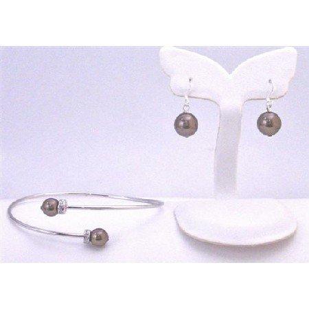 TB896 Dark Brown Pearls Cuff Silver Bracelet & Earrings Jewelry Set w/Diamond Spacer Silver Rondells