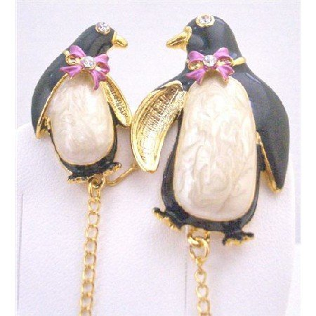 B380 Mother & Baby Brooch Exclusively Baby Shower Brooch Enamel Penguin ON Skate