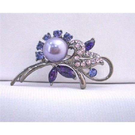 B381  Lavender Pearls Brooch Amethyst Rose Crystals Oxidized Metal Framed Cake Brooch