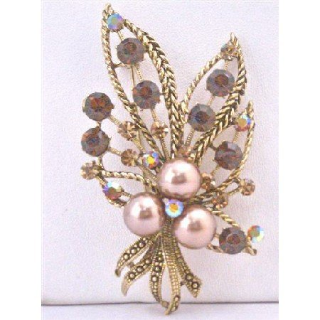 B372 Smoked Topaz Crystals Swarovski Bronze Pearls Antique Gold Casting Bouquet Brooch