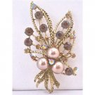 B372 Smoked Topaz Crystals Swarovski Bronze Pearls Antique Gold Casting Bouquet Brooch