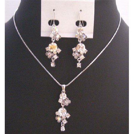 NS725 Hiqh Quality Jewelry Fully Embedded w/Simulated Diamond Jewelry Set
