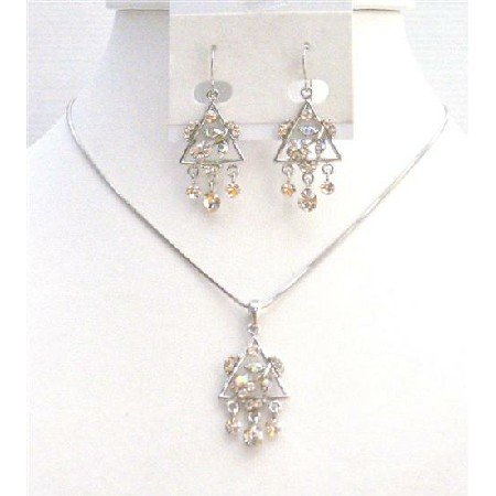 NS718  Sparkling Diamante Clear Crystals Jewelry Set Very Cute Triangle Pendant & Earrings Set