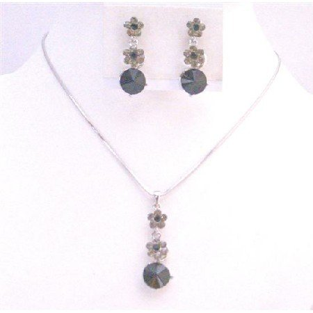 NS722 Bridal Necklace Set Jet Black Crystals Flower Necklace Set Jet Black Crystals Wedding Jewelry