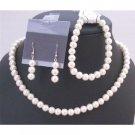 NS712 Wedding Pearls Jewelry Set Ivory Pearls Complete Set w/Bracelet Prom Bridal Bridemaids Set