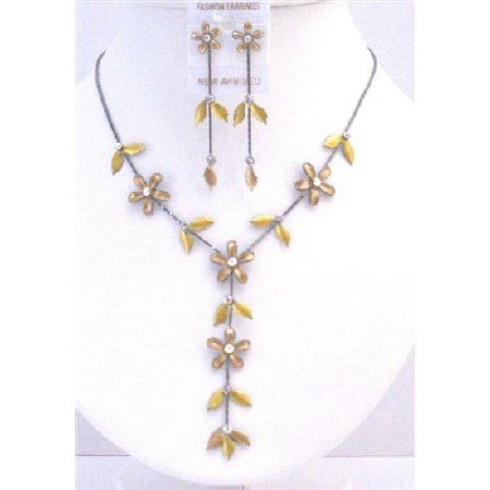 NS702  Floral Necklace Set Golden Yellow Jewelry Set Beautiful Y Shaped Necklace Set