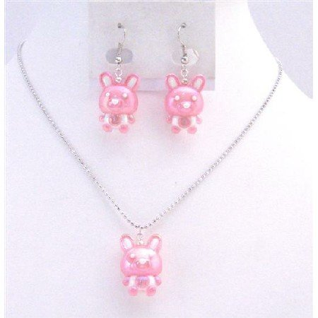 NS708  Jewelry Pink Rabbit Easter Jewelry Set Necklace & Earrings Cute Gift For Girls Jewelry