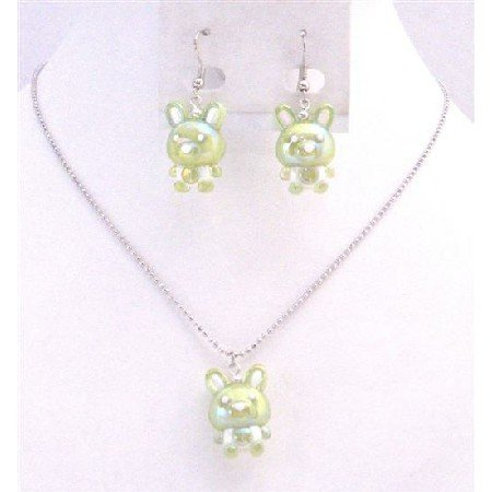 NS709  Green Rabbit Easter Jewelry Set Necklace & Earrings Cute Easter Gift For Girls Jewelry