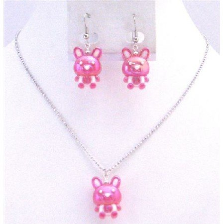 NS710  Fuschia Rabbit Easter Jewelry Set Necklace & Earrings Cute Easter Gift For Girls Jewelry