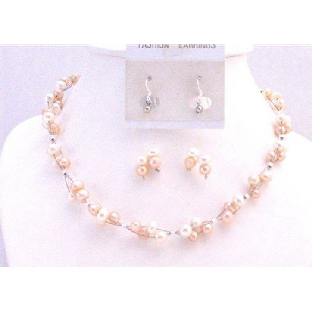 NS716 Peach Pearls Ivory Pearls Necklace Set Interwoven Necklace Set w/Dangling Earrings
