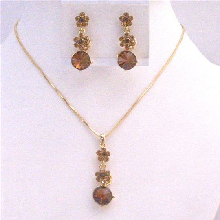 NS721 Gold Chain Necklace Set Light Dark Smoked Topaz Crystals Flower Wedding Jewelry Set