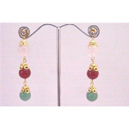 ERC589 Jade Rose Quartz & Ruby Stone Beads In 22k Gold Plated Golden Cap Spacer Earrings
