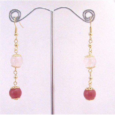 ERC585  Rose Quartz Stone Bead & Ruby Accented in 22k Gold Plated Chain Earrings
