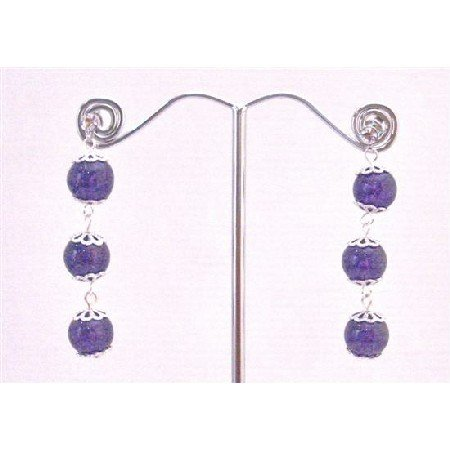ERC588  Amethyst Stone Stone Bead Silver Flower Spacer Surgical Post Earrings