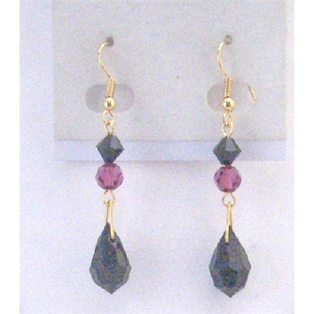 ERC590 Golden Hook Earrings Fuschia & Jet Crystals w/Jet Crystals Teardrop Earrings