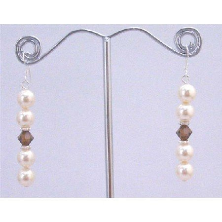 ERC597 Austrian Jewelry Ivory Pearls & Smoked Topaz w/Bali Silver Spacer Earrings