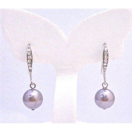 ERC580 Cubic Zircon Encrusted Hook Earrings Diamante Earrings Mauve Swarovski Pearls