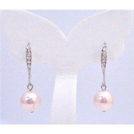 ERC579  Diamante Earrings Genuine Rose Swarovski Pearls Dangling From Hook