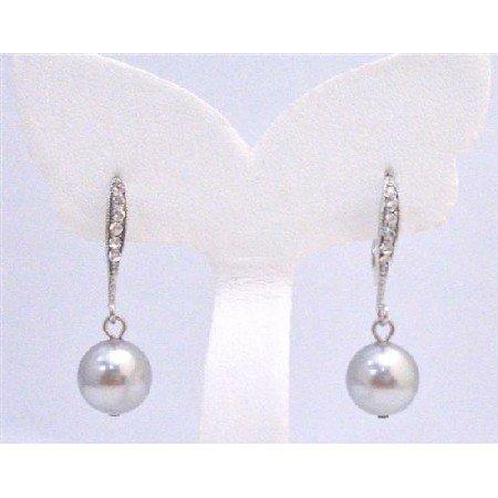 ERC581 Diamante Earrings Genuine Lite Grey Swarovski Pearls Dangling Earrings