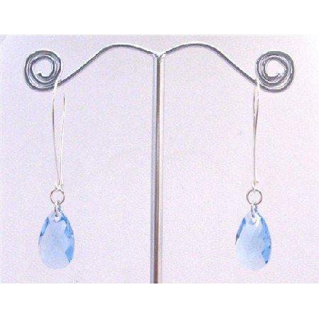 ERC577 Aquamarine Swarovski Crystals Polygan Pendant Silver Hoop Earrings