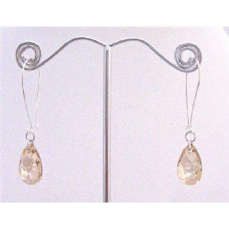 ERC575  Genuine Swarovski Golden Shadow Polygan Pendant Silver Hoop Earrings