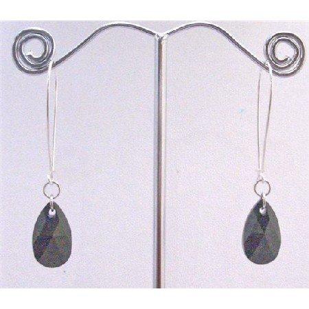ERC574 Jet Swarovski Crystals Polygan Pendant Genuine Silver Hoop Earrings