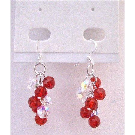 ERC558 Lite Siam Red & AB Crystals Grape Bunch Earrings Round Crystals Bead Bunch Earrings