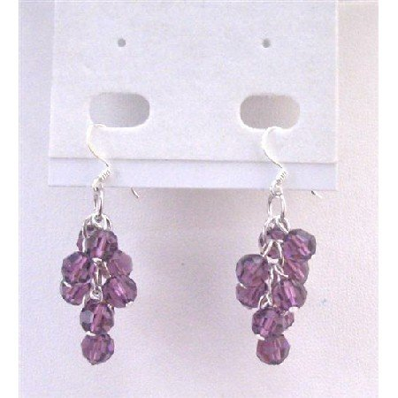 ERC559  Grape Bunch Earrings Of Round Crystals Beads Amethyst Round Crystals Beads Earrings
