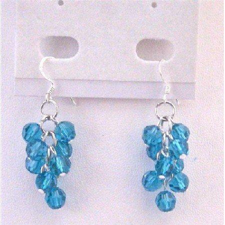 ERC561  Bunch Crystals Round Bead Earrings Exclusive Genuine Swarovski Round Blue Zircon