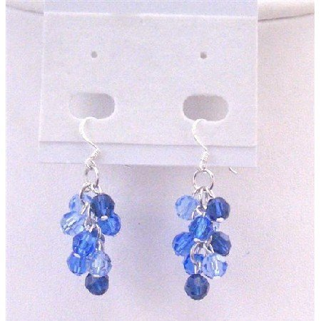 ERC564  Sapphire Crystals Jewelry Sapphire Light & Dark Tricolor Grape Bunch Earrings
