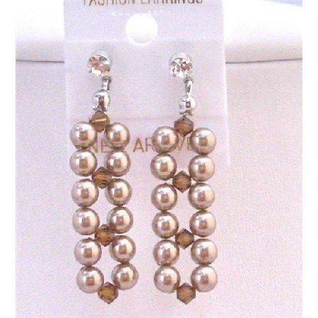ERC553  Interwoven Earrings Genuine Swarovski Bronze Pearls w/Smoked Topaz Crystals Earrings