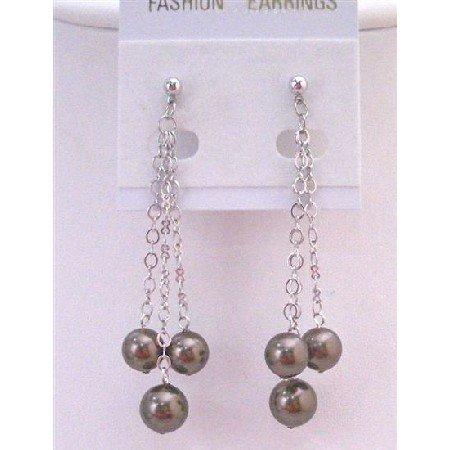 ERC554  Brown Chocolate Pearls Dangling Earrings Fashionable Dangling Pearls Earrings