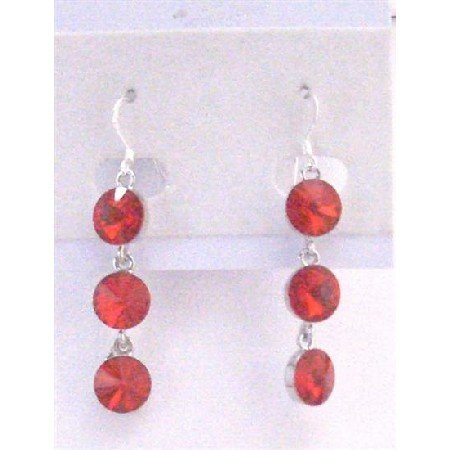 ERC556  Passionate Lite Bright Siam Red Crystals Faceted Round Beads Earrings Sterling Silver