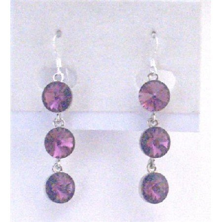 ERC555  Amethyst Crystals Faceted Round Beads Earrings Sterling Silver Earrings