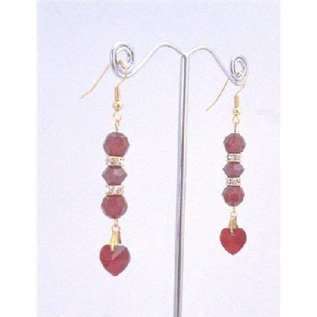ERC552 Siam Red Crystals Earrings w/Heart Dangling Romantic Jewelry Golden Hook & Rondells