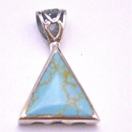 SPEN040 Sterling Silver Jewelry Green Turquoise Self Designed Silver Pendant Turquoise Pendant