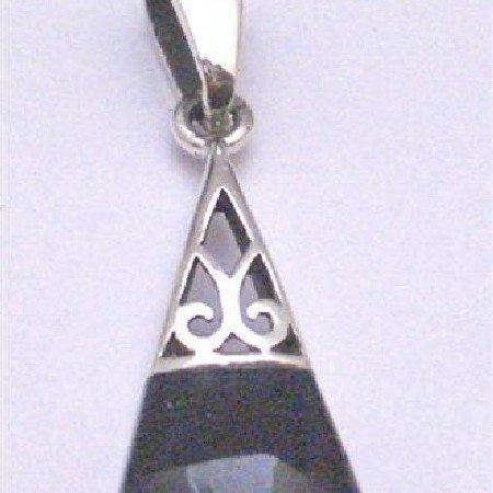 SPEN034  Vintage Inlaid Onyx Pendant Fabulous Pendant Sterling Silver Pendant