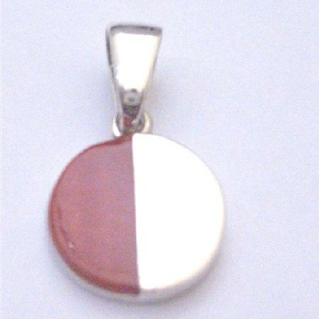 SPEN036  Cute Round Sterling Silver Pendant Half Shaded Coral And Sterling Silver Pendant