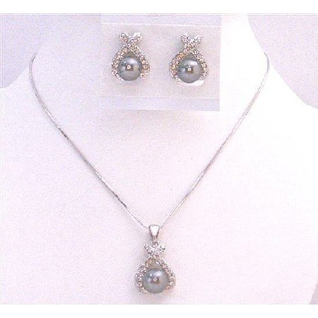 BRD975  Fabulous Graceful Necklace Set In Dark Grey Pearls Diamate Pendant & Earrings Set