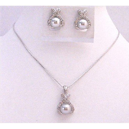 BRD974  Sleek Dainty Light Grey Pearls Diamate Pendant & Earrings Set Bridemaids Jewelry Set